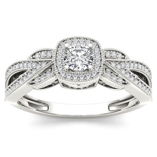 De Couer 10k White Gold 3/8ct TDW Diamond Engagement Ring (H-I, I2)