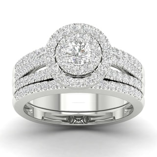 De Couer 10k White Gold 1ct TDW Diamond Double Halo Engagement Ring (H-I, I2)