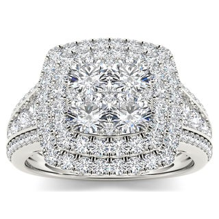De Couer 10k White Gold 1 1/2ct TDW Diamond Double Halo Ring (H-I, I2)