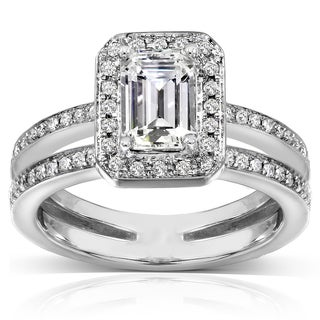 Annello 14k White Gold Emerald-Cut Moissanite and 1/3ct TDW Round-cut Diamond Engagement Ring (G-H,