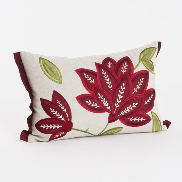 Flower Applique Throw Pillow