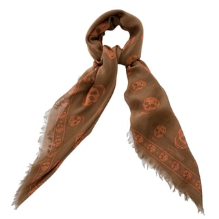 Alexander McQueen Brown and Burnt Orange Silk Blend Skull Scarf