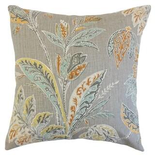 Taja 18-inch Feather Filled Floral Tumeric Throw Pillow
