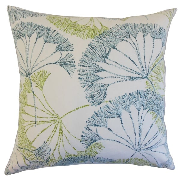Grove 18-inch Feather Filled Floral Indigo Throw Pillow