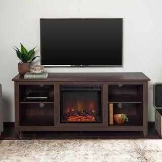 Porch & Den Roosevelt Espresso 58-inch Fireplace TV Stand Console