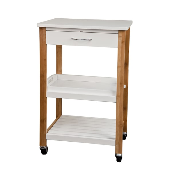 Bamboo Kitchen Utility Cart With Removable Tray And Wheels