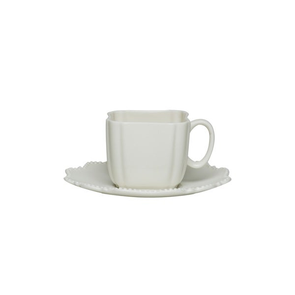 Red Vanilla Pinpoint White 3-ounce Espresso Cup and Saucer (Set of 6) 14191313