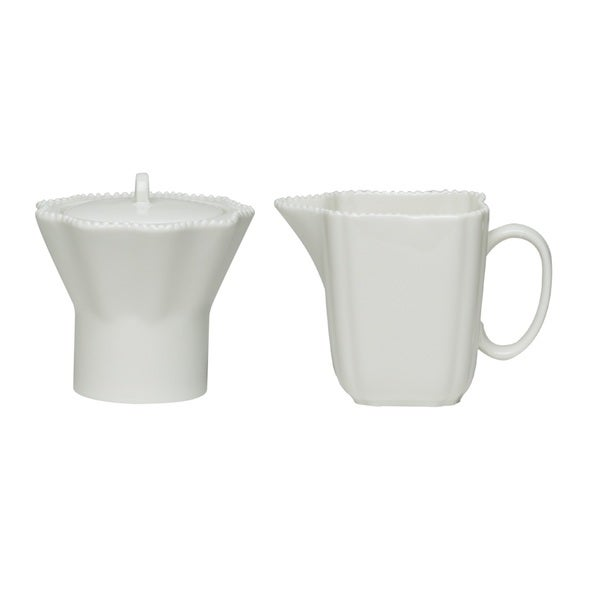 Red Vanilla Pinpoint White Covered Sugar Bowl and Creamer