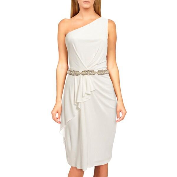 David Meister Women's White One-shoulder Beaded Dress