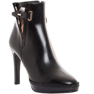 Burberry Women's 'Lysterfield' Black Leather Ankle Boots with Check Detail