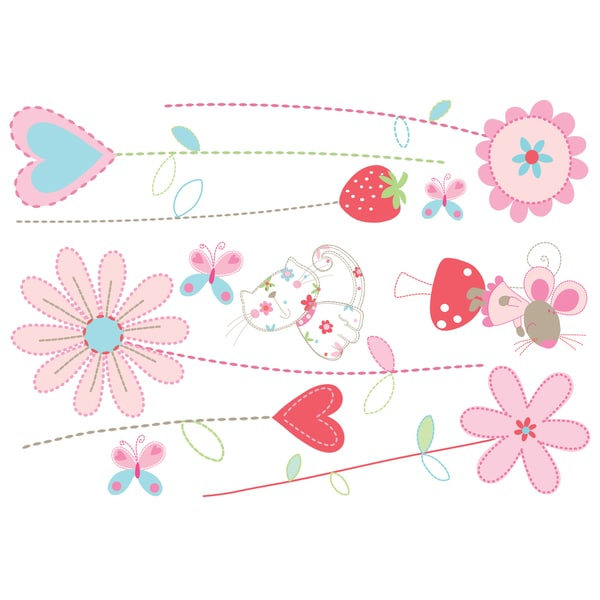 Pretty Pink Garden Decal - Girls Wall Stickers