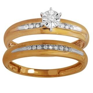 Bridal Symphony 10k Two-tone Gold 1/10ct TDW Diamond Bridal Ring Set (I-J, I2-I3)