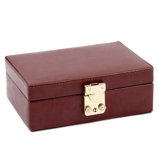 'Winston' Brown Embossed Leather Jewelry Box