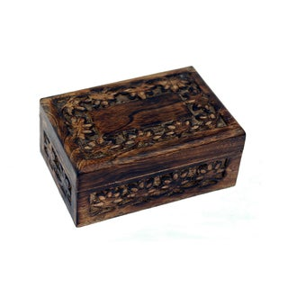 Hand-carved Floral Motif Wooden Jewelry Box (India)