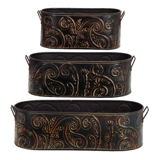 Oval Metal Planters (Set of 3)