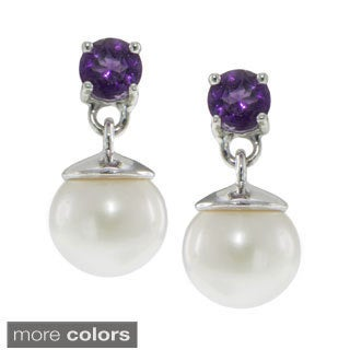 Sterling Silver Freshwater Pearl and Gemstone Dangle Earrings (7-8mm)