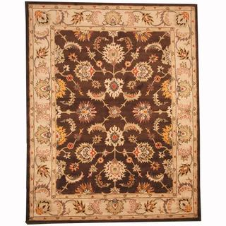 Herat Oriental Persian Indo Hand-tufted Tabriz Brown/ Ivory (8' x 10')