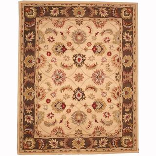 Herat Oriental Persian Indo Hand-tufted Tabriz Ivory/ Brown (8' x 10')
