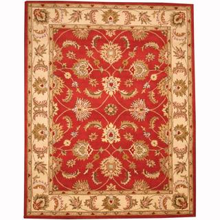 Herat Oriental Persian Indo Hand-tufted Tabriz Red/ Ivory (8' x 10')