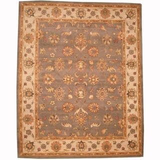 Herat Oriental Persian Indo Hand-tufted Tabriz Light Blue/ Beige (8' x 10')