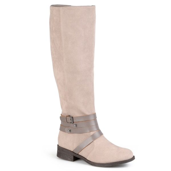 Journee Collection Women's 'Jen' Two-tone Faux Suede Strappy Boots