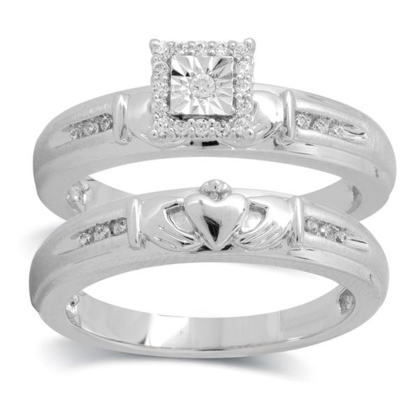 Symphony 10k White Gold 1 6ct TDW Diamond Claddagh Bridal Ring Set