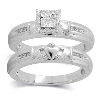 Bridal Symphony 10k White Gold 1/6ct TDW Diamond Claddagh Bridal Ring Set (I-J, I2-I3)