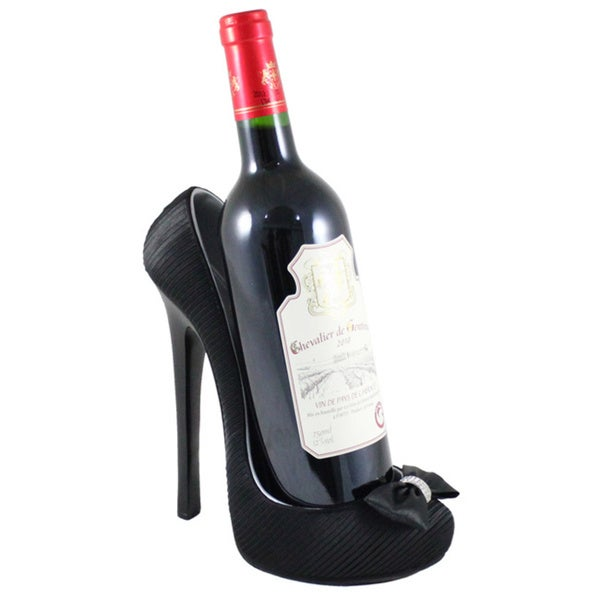 Jacki Design Black Pleated Satin Shoe Wine Bottle Holder