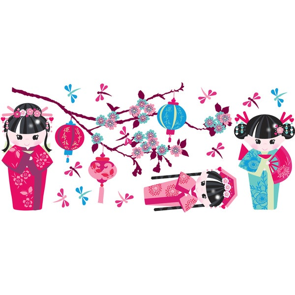Oriental Doll - Girls Wall Decals