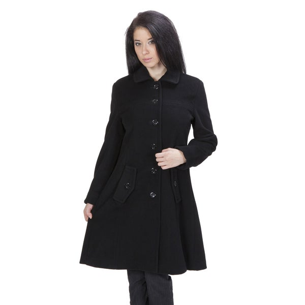 Ramonti Women's Black Luxe Wool Swing Car Coat