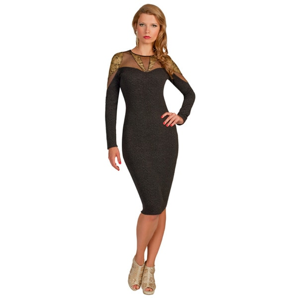 Kayla Collection Women's Mesh and Metallic Yoke Straight Dress