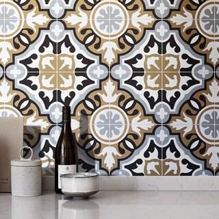 Handmade Baha in Brown, Black, Grey Tile, Pack of 12 (Morocco)