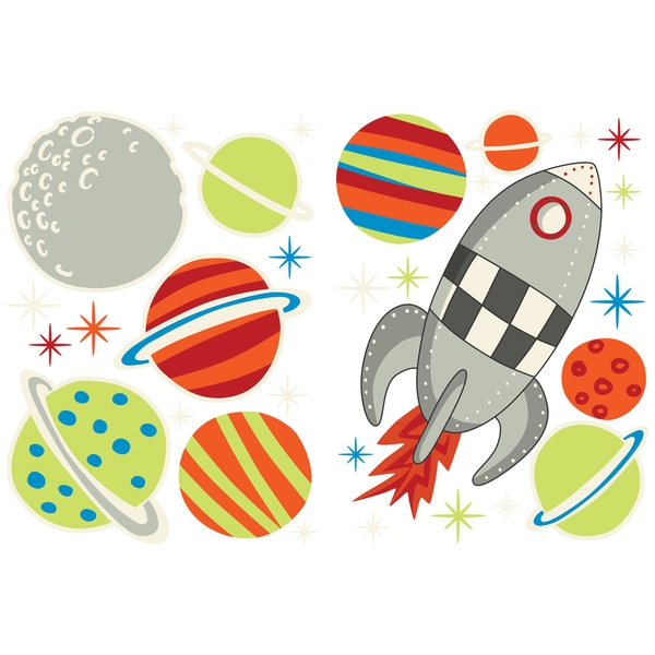 Glow Space Rocket - Space Wall Stickers and Decals