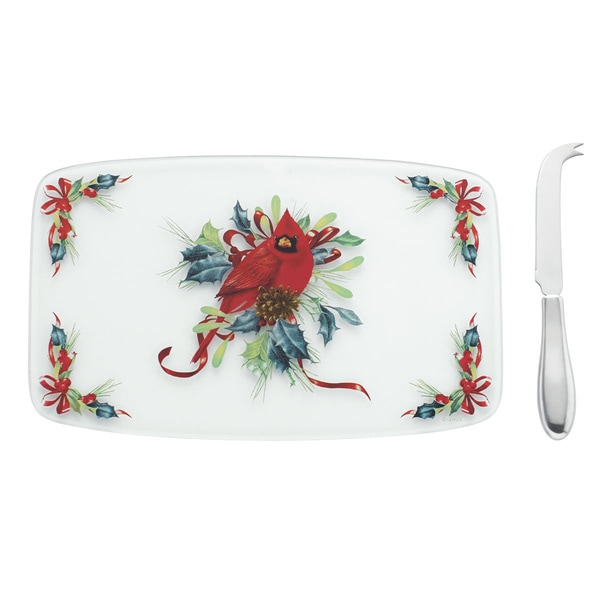 Lenox Winter Greetings Glass Cheeseboard with Spreader