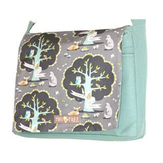Handmade Medium Mint Friends of The Forest Messenger Bag
