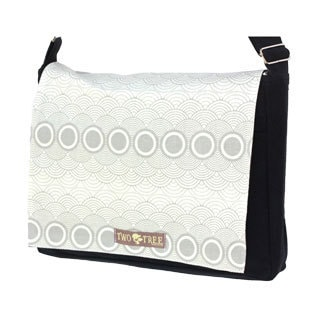 Handmade Medium Black Grey Clouds Messenger Bag