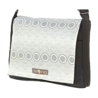 Handmade Medium Grey Grey Clouds Messenger Bag
