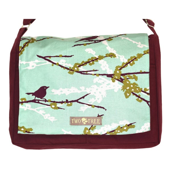 Handmade Medium Burgundy Purple Bird on a Branch Messenger Bag
