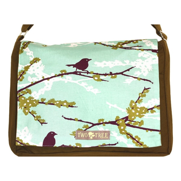 Handmade Medium Olive Purple Bird on a Branch Messenger Bag