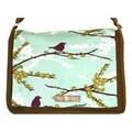 Handmade Medium Olive Purple Bird on a Branch Messenger Bag