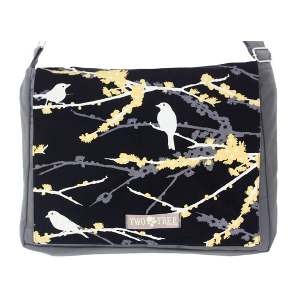 Handmade Medium Grey Black Bird on a Branch Messenger Bag