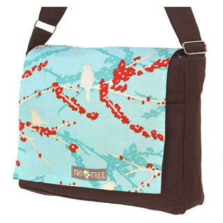Handmade Medium Brown Blue Bird on a Branch Messenger Bag