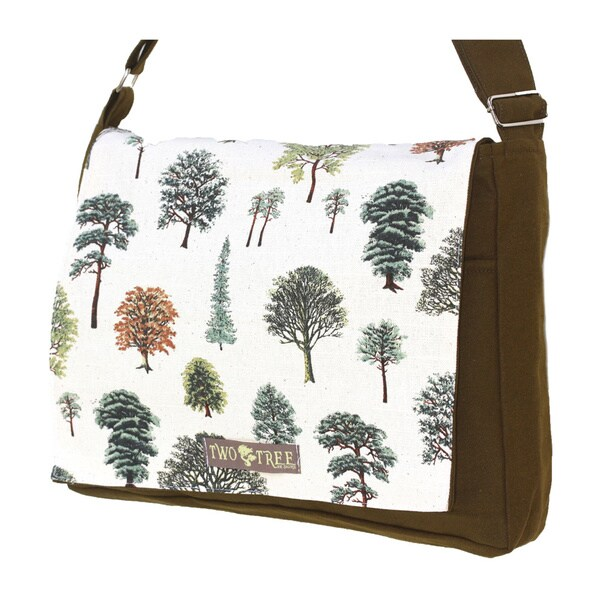 Handmade Medium Olive Green Forest Trees Messenger Bag