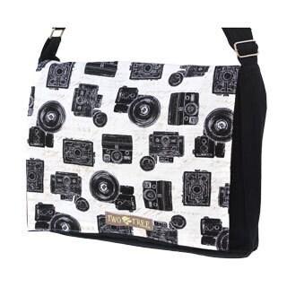Handmade Medium Black Vintage Camera Messenger Bag