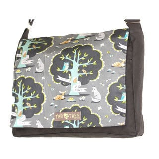 Handmade Medium Grey Friends of The Forest Messenger Bag