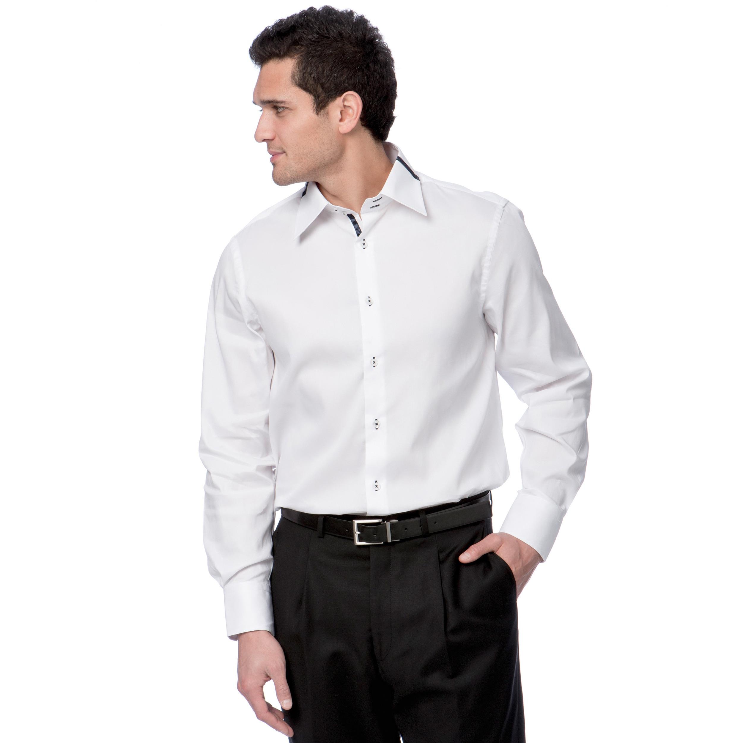 Brio milano men 39 s white and navy button down dress shirt for White button down dress shirt