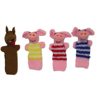 Three Little Pigs and the Wolf Finger Puppet Set (Peru)