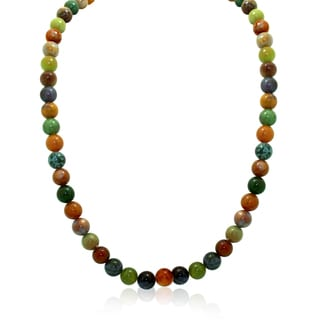 Sterling Silver Rainbow Florite Beads Chain Necklace