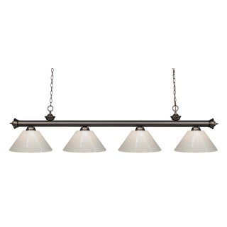 Z-Lite Riviera Bronze White 4-liight Billiard Fixture