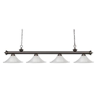 Z-lite Riviera Olde Bronze Fluted White Mottle Billiard Fixture
